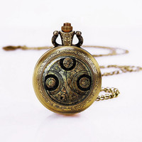 Dr Who   Pocket Watch Necklace , vintage  Necklace , christmas Watch Necklace , Gift Necklace ,Vintage Glass