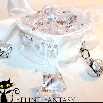 Winter snowflake kittenplay petplay collar with silver bell and snowflake charms