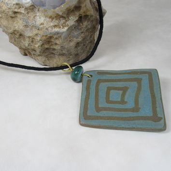 Square Geometric Long Pendant Nerikomi Necklace; Various Colors