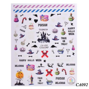 1 Sheets Nail Halloween 3D Designs New Nail Art Decorations Self Adhesive Style Polish Manicure Nail Sticker Decals CHCA092-099