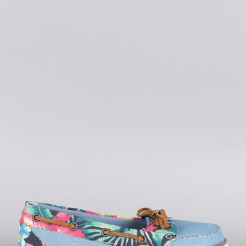 Bamboo Denim Floral Moccasin Flat