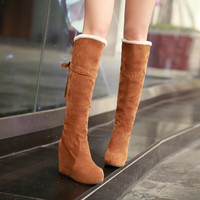 On Sale Hot Deal Matte Height Increase Wedge Stylish Butterfly Boots [9432961546]