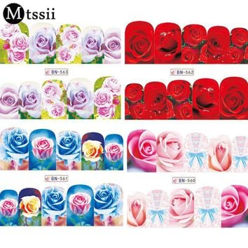 Mtssii 12 Designs Water Transfer Nail Sticker Set Flowers Full Cover Stencil Slider Manicure Color Nail Art Rose Decals