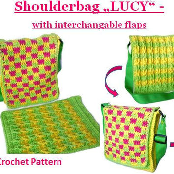 "Crochet Pattern Shoulderbag ""LUCY"" with interchangeable flaps"