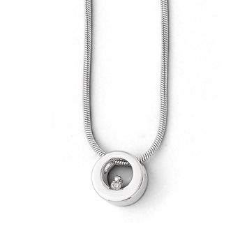 Diamond Accent 9mm Circle Necklace, Rhodium Plated Silver, 18-20 Inch