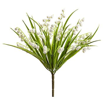 "White Artificial Lily of the Valley Bush - 12"" Tall"
