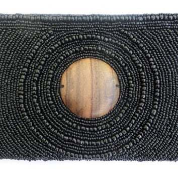Womens Black Beaded clutch Purse with Wooden Centre Feature, Beadwork Purse, Handmade Purses, Clutch Bag,