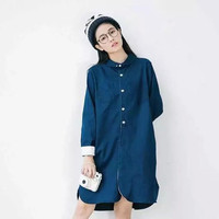 Denim Peter Pan Collar Pocket Long Sleeve Loose Shirt Dress