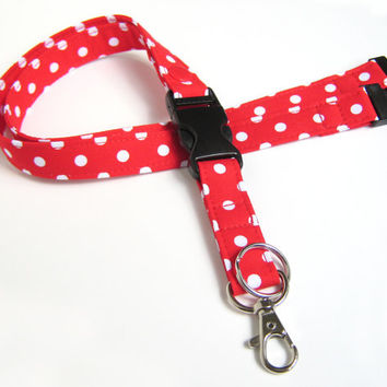 Fabric Lanyard - ID Badge and Key Ring in Red and White Polka Dots - With Breakaway and Detachable Side Release Key Ring