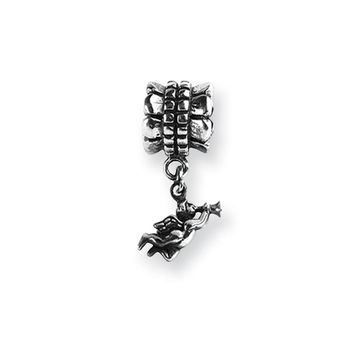 Trumpeting Angel Dangle Charm in Silver for 3mm Bead Bracelets