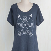 Travel Mid-length Short Sleeves Just Right Direction Tee