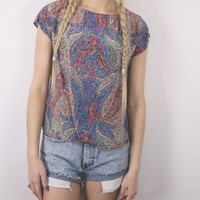 Vintage Paisley Colorful Abstract Blouse