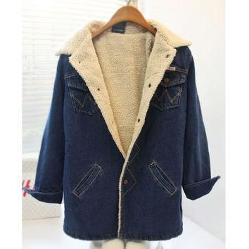 Women's winter warm down jacket Lady's thicken fashion denim coat Female casual polo c
