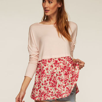Pink and Flowers Spring Top