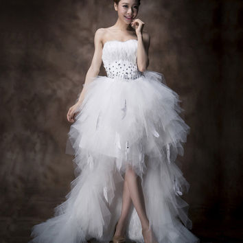 Charming Sweetheart Neck Rhinestoned and Feather Design Women's Asymmetric Court Train Wedding Dress