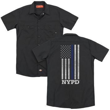 NYPD Dickies Work Shirt Thin Blue Line American Flag Black Button Up