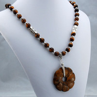 Tigereye Pendant and Necklace - Handmade Original One of a Kind