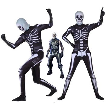 Cool Adult Kids Hot Game Cosplay Costume Skull Trooper Human Zentai Bodysuit Suit Jumpsuits Scary Skeleton Halloween CostumeAT_93_12