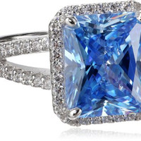 "Myia Passiello ""Cocktail Ring"" Emerald Cut Swarovski Zirconia Fancy Blue Ring, Size 8"