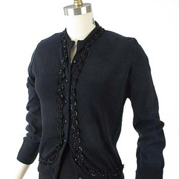 Sequin Trim Black Vintage Cardigan Sweater