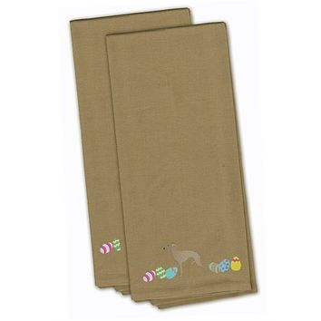 Italian Greyhound Easter Tan Embroidered Kitchen Towel Set of 2 CK1655TNTWE