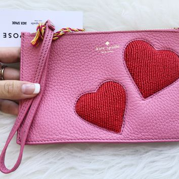 Kate Spade On Purpose Heart Pink Sunset Mini Leather Wristlet Wallet