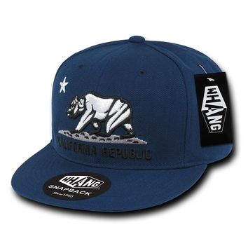 California Republic Cali State Bear Flag Snapback Hat in Solid Navy by Whang