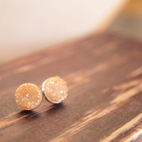Gold Druzy Post Earrings,Gold Druzy Stud Earring in Sterling Silver, Sterling Silver Druzy Earring, Custom Color Druzy Earrings