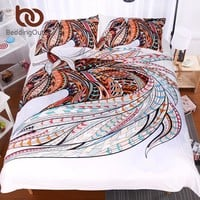 BeddingOutlet 3 Pieces 3D Horse Bedding Set Queen Boho Duvet Cover African Totem Indian Bohemia Quilt Cover Set with Pillow Case