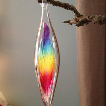 Floating Feather Hand Blown Glass Ornament with Hand Painted Rainbow Feather