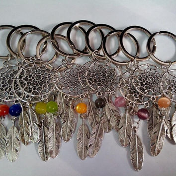 Turquoise Feather Tree Leaf Dreamcatcher Keychain
