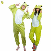 New Autumn and Winter Christmas Pajamas Sets Cartoon Sleepwear Adults kids Pajamas  Green Frog Flannel Animal Pajamas Sets