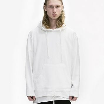 Double Layer Reversed French Terry Hoodie in Off-White