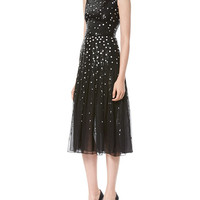 Carolina Herrera Dotted Sequin Tulle Cocktail Dress, Black/White