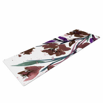 "Ebi Emporium ""Pocket Full Of Posies Brown"" Beige White Yoga Mat"