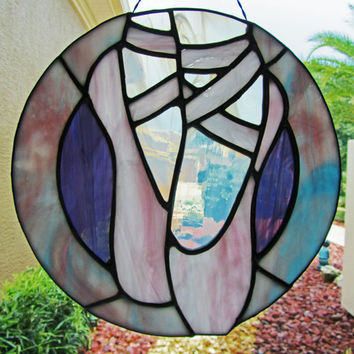 Stained Glass Ballet Slippers Sun Catcher ~ Ballet Sun Catcher ~ Ballet Shoes ~ Ballerina Sun Catcher ~ Ballet Dancer ~ Ballet Gift