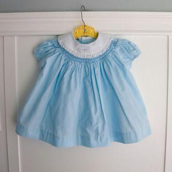 9 months: Smocked Bishop Dress with Lace Trimmed Collar, Pastel Turquoise Blue Baby Dress by Polly Flinders