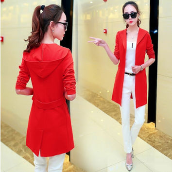 Spring NEW lady Cashmere wool blended Cardigan long section of solid color Sweater coat was thin fashion Wool Cardigan Sweater