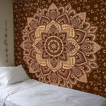 Printed Rectangle Square Indian Mandala Pattern Tapestry Wall Geometric Hanging Large Boho Bohemian Throw Blanket Beach Hippie