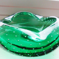 Mid Century Emerald Green Art Glass Bowl -Murano Vintage Controlled Bubble Dish