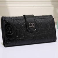 Perfect CHANEL Women Flower Leather Buckle Wallet Purse
