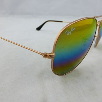 Ray-Ban Sunglasses Aviator Bronze Copper - Gold Rainbow Flash 3025 9020C4 58mm