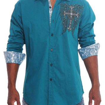 Tribal Angel Cross Button Up Shirt SH443 - L4F
