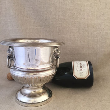 small lion head ice champagne bucket, marvelous silver plated patina, for the bar, entertaining, holidays