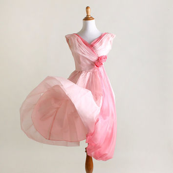 Vintage Rose 1960s Dress - Cotton Candy Pink Chiffon Party Dress - XS XXS Valentines Day Dress