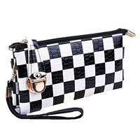 Basket Hill , Black and White Check Clutch / Wallet with Wrist and Shoulder Strap