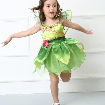 Girl Cute Green Flower Fairy Tinker Bell Costume Children's Day Family Party Tinkerbell Cosplay Fancy Dress