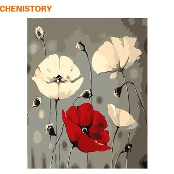 CHENISTORY No Framed Abstract Flowers DIY Painting By Numbers Modern Wall Art Picture Handpainted Painting & Calligraphy 40x50cm