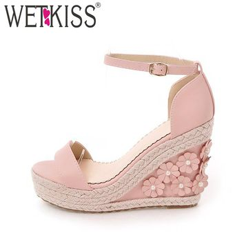 Size 33-39 Summer Flower Charm High Wedges Sandals Women High Heels Shoes Platform Ankle Strap Straw Weave Women Sandals