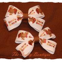 Clippie Pigtail Hair Bow Set ~ Gobble Gobble Turkey ~ Fall Hair Bows ~ Thanksgiving Hair Bows ~ Harvest Hair Bows~ Small Hair Bows